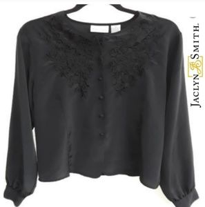 Sz14 Jaclyn Smith Black Embroidered Blouse